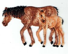 Two Horses - Bay Horse/Colt Iron on Applique Embroidered Patch 1119565-B