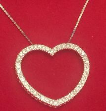"Sterling Silver 925 Open Heart Pendant With Crystal Stone And 18"" Avon Necklace"