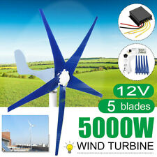 5000W Max Power Wind Turbine Generator Kit W/ Charge Controller DC 12V Windmill