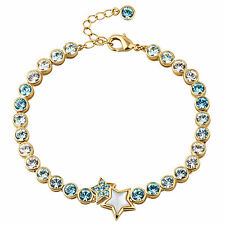 Swarovski Element Crystal 18k Gold GP Aqua Star Elegant Bracelet B0042