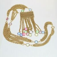 Vintage gold plated multi color chain open back crystal tassel pendant necklace