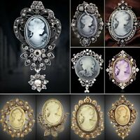 Vintage Wedding Beauty Face Flower Crystal Cameo Brooch Pin Womens Jewellery New