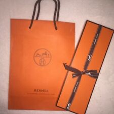 Authentic Hermes Orange Box for Watch w/ wooden insert & Bag 10 3/4 x 3 1/2 x 1