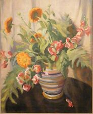 Gertrude Nason c.1920's Art Deco floral painting Boston MA Lyme CT woman artist