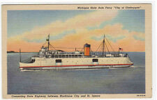 Car Ferry Steamer City fof Cheboygan Michigan State Ship linen postcard