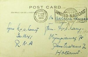 GB UNITED NATIONS 1945 VICTORIA EMBANKMENT LONDON STAMPLESS PPC TO NETHERLANDS