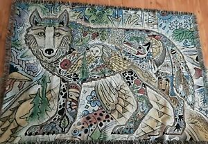 Pure Coutry Weavers Wolf Tapestry Throw Blanket Wildlife Scene Lodge Sue Coccia