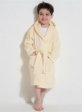 Boys/Girls 100% Cotton Cream Dressing Gown Kids Bath Robe +Hood Ages 7/8 New
