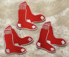 """Boston Red Sox 2"""" Set of THREE (3) Socks Iron On Embroidered Patches ~FREE SHIP!"""