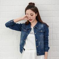 Women Short Denim Jacket Jeans Coat Jackets Tops Turn Down Collar Slim Jeans Top