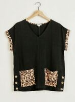 New Umgee Top XL X Large Black Linen Blend Leopard Print Pockets Plus Size