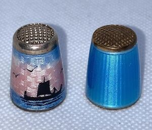 2 Vintage Guilloche Enamel Thimbles Sterling Silver Norway Excellent Condition