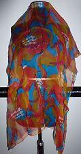 Damen Tuch Stola Schal orange gelb türkis rot weiß Blumen 100 x 100 - NEU