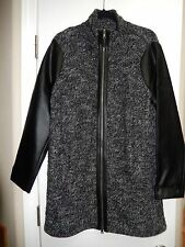 Ralph Lauren Jeans Co. Black Grey Sweater Jacket Faux Leather Trim XL NWT $260