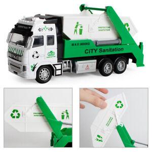 Garbage Sanitation Truck Model Boys Toy Car Lorry Pull Back Alloy Christmas