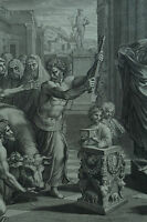 Rare Grande gravure Raphael saint paul Barnabé nicolas Daurigny 17ème Stampa