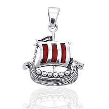 Drekkar - Viking Longship Sterling Silver with Red Enamel Pendant