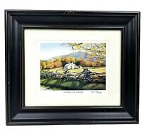 A Cades Cove Autumn Lithograph Print Vintage Picture Signed Framed Terri Waters