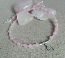 ANKLET 925 Sterling Silver Rose quartz Summer Ankle Bracelet dangle Leaf charm
