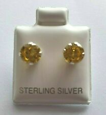 Sterling Silver CZ Citrine 6mm Stud Earrings 925 Yellow round Cubic Zirconia