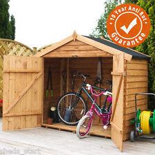 7x3 Wooden Overlap Garden Bike Shed Windowless Double Doors Apex Roof 7ft 3ft