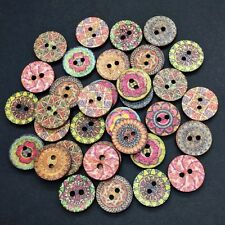 100 15mm RUSTIC WOOD BUTTONS - RANDOM MIX - CRAFT - SCRAPBOOK - SEW - CARDMAKING