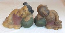 ANTIQUE VINTAGE CHINESE ASIAN CARVED BOOKENDS CHILDREN