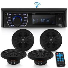 "Pyle PLMRKT48BT Marine Receiver Stereo & Speaker Kit 4 6.5"" Waterproof Speakers"