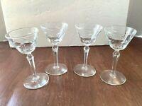 """4 Vintage Etched Leaf Stemmed 3 oz Cordial Liqueur Cocktail Glasses 5 1/2"""" tall"""