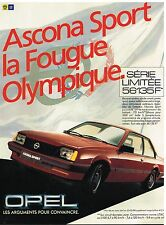 Publicité Advertising 1984 Opel Ascona sport
