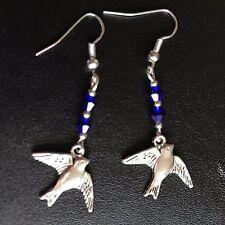 Pretty tragar pájaro pendientes, azul plata plateado ganchos regalo de perlas de vidrio