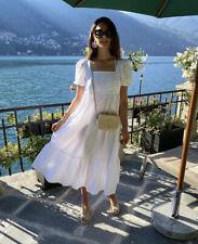 H&M SS2020 White Cotton Poplin Tiered Midi Dress Puff Sleeve Square Neck Blogger