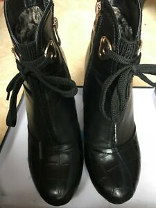 black leather wedge ankle boots size 5