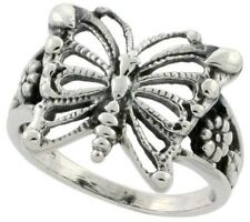 """925 Sterling Silver Butterfly Floral Design Fancy Lady's Flower Ring 5/8"""" Long"""