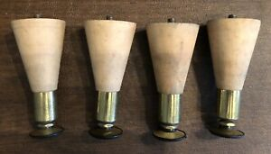 """Set of 4 Tapered Unfinished Wood 4"""" Mid Century Modern Furniture Table Legs"""