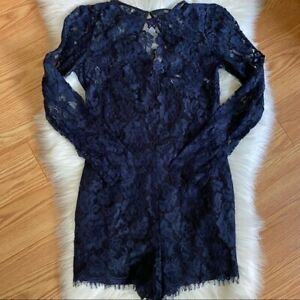 Cynthia Rowley Navy Blue Lace Long Sleeve Scalloped Cocktail Party Romper Sz 6