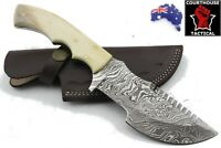 Tracker Hunting Knife, Damascus Blade, Natural Camel Bone Handle, Leather Sheath