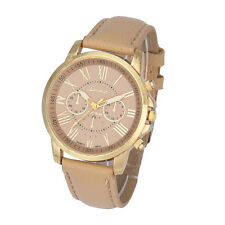 Women's Fashion Geneva Roman Numerals Faux Leather Analog Quartz Wrist Watch NEW