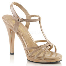 Pleaser Flair-420 Shoes Szie 4 Nude T-Strap Strappy Sandals High Heel Drag Queen