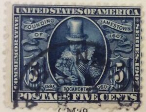 1907 5c Pocahontas Jamestown commemorative single, Scott #330, Used, Fine