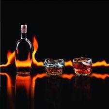Charred Whisky Gafas Vasos Juego de Dos Nuevo Regalo Derretido para Beber