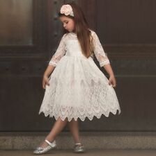 Vintage Lace Kid Girls Pleated Flower Girl Dress Birthday Wedding Princess Dress