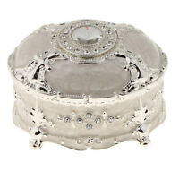 Metal Alloy Vintage Crystal Enamel Jewelry Box Trinket Case Jewelry Storage