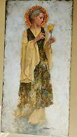 "James Christensen "" The Yellow Rose "" Canvas  # 248/250 COA Rare Large 12 X 24"