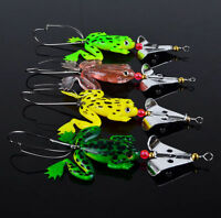 Hot Sell Lot 4pcs Rubber Frog Soft Fishing Lures Bass CrankBait Sinking 9cm 3.54