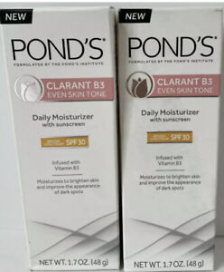 (2) Pond's Clarant B3 Even Skin Tone Daily Moisturizer SPF 30 1.7 oz-Exp 7/20 Z