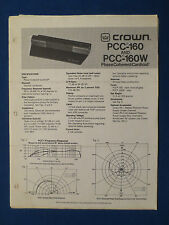 CROWN PCC-160 W PHASE COHERENT CARDIOID OWNER MANUAL ORIGINAL FACTORY ISSUE