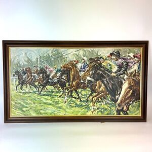 Roy Miller 1971 They're Off Horse Racing Oil On Canvas 96cm X 54.5cm