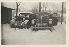ORIGINAL 1947 PHOTO OF WOMAN POSING W/ TWO VINTAGE CARS IN SNOW STORM