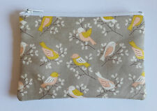 Vintage Birds Fabric Handmade Zippy Coin Purse Storage Pouch